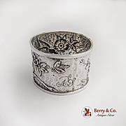 Aesthetic Bird Floral Foliate Repousse Hammered Napkin Ring FWTT Sterling Birmingham 1892