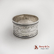 Vintage Applied Chain Border Napkin Ring Coin Silver 1870