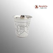 Engraved Russian Vodka Cup 84 Standard Silver Kiev 1890