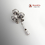 Vintage Baby Rattle Whistle Bells Decorations Sterling Silver 1945