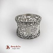 Vintage Shell Scroll Cutwork Napkin Ring Sterling Silver London 1907