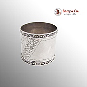 Aesthetic Engraved Bird Napkin Ring Embossed Applied Rims Coin Silver 1870