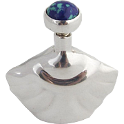 Modernist Perfume Flask Blue Green Cabochon Decoration Sterling Silver