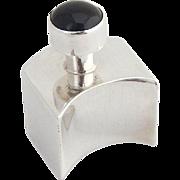 Modernist Unusual Shape Perfume Flask Black Cabochon Decoration Sterling Silver