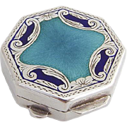 Italian 800 Silver Blue Green Enamel Engraved Pill Box 1960 Florence
