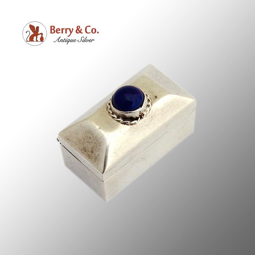 Mexican Sterling Silver Pill Box Lapis Stone Cabochon Decoration