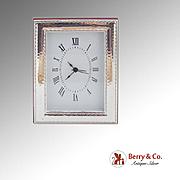 Vintage Italian Alarm Clock Hardwood Sterling Silver