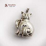 Vintage Cat Christmas Ornament Pendant Sterling Silver 1980