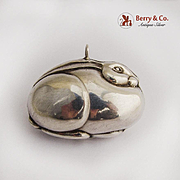 Rabbit Christmas Ornament Pendant Sterling Silver
