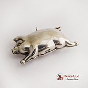 Vintage Running Pig Christmas Ornament Sterling Silver