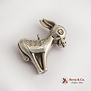Donkey Christmas Ornament Pendant RM Trush Sterling Silver 1975