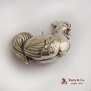 Vintage Sterling Silver Chicken Christmas Ornament Pendant 1975