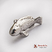 Vintage Fish Christmas Ornament Sterling Silver 1980