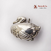 Vintage Duck Christmas Ornament Pendant Sterling Silver 1980