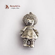 Raggedy Ann Christmas Ornament Pendant Sterling Silver 1975