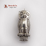 Vintage Owl Christmas Ornament Pendant Sterling Silver