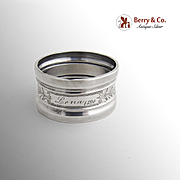 Vintage Engraved Napkin Ring Lena Coin Silver 1890