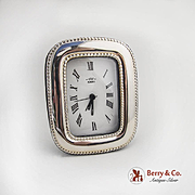 Italian Sterling Silver Alarm Clock Florence