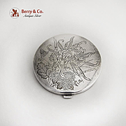 Japanese Engraved Chrysanthemum Compact Sterling Silver 1960