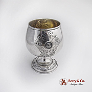 Medallion Cup Engraved Body And Base Gilt Interior Sterling Silver