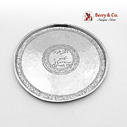 Persian Hammered Engraved Serving Plate Sterling Silver 1930
