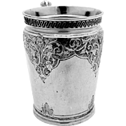 Gorham Engraved Chased Mug Cup Coin Silver 1866