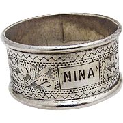 Vintage Engraved Napkin Ring Hilliard And Thomason Sterling Silver 1897
