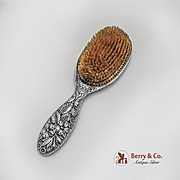 Floral Repousse Hair Brush Gorham Sterling Silver 1890