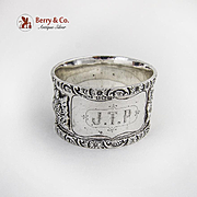 Relief Floral Scroll Napkin Ring Sterling Silver Birmingham 1912