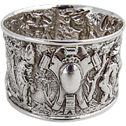 Antique Sheffield Moveable Feast Repousse Napkin Ring Sterling Silver 1905
