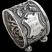 Antique Ornate Napkin Ring Coin Silver