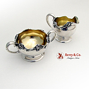 Vintage Iris Creamer Sugar Bowl Set William Kerr Sterling Silver 1900