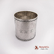 Floral Scroll Engraved Napkin Ring Coin Silver 1880