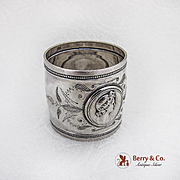 Engraved Medallion Napkin Ring Coin Silver 1860
