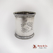 Engine Turned Large Napkin Ring Twisted Rope Rims Sterling Silver 1860