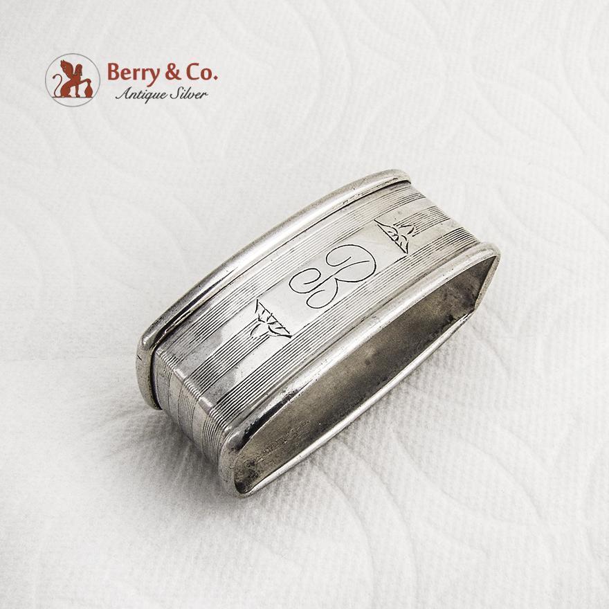 deco engraved napkin ring webster sterling silver 1940