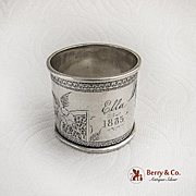 Aesthetic Floral Engraved Napkin Ring Coin Silver