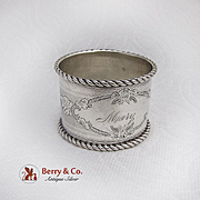 Engine Turned Engraved Napkin Ring Coin Silver 1880