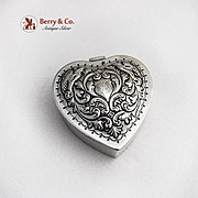 Repousse Bird Scroll Heart Box Dominick And Haff Sterling Silver 1898