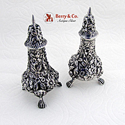 Repousse Floral Salt Pepper Shakers Footed Schofield Sterling Silver 1890