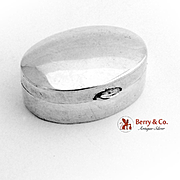 Vintage Small Oval Pill Box Sterling Silver