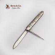 Antique Folding Fruit Pocket Knife Engraved Sterling Silver