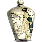 Japanese Engraved Perfume Bottle 950 Sterling Silver 1940
