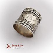 Engraved Napkin Ring Grapevine Border Coin Silver 1880