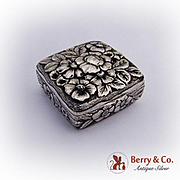 Floral Repousse Square Box Sterling Silver 1890