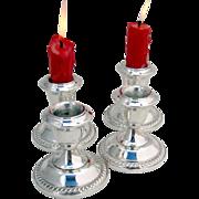 Vintage Gadrooned Candlesticks Set Sterling Silver