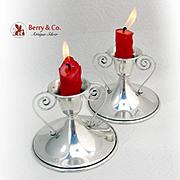 Vintage Candlesticks Pair Saart Brothers Sterling Silver 1940