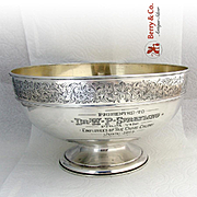 Important Centerpiece Bowl Engraved Border Gorham Sterling Silver