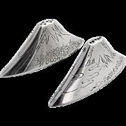 Engraved Mount Fuji Salt Pepper Shakers Japanese 950 Sterling Silver 1960