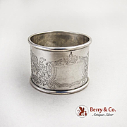 German Engraved Napkin Rings Pair 813 Standard Silver 1880